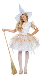 Party King PK946C Girls White Magic Witch Costume - A