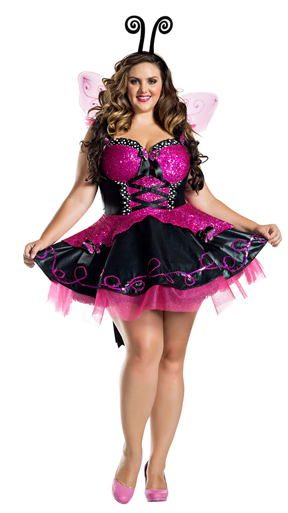 39557f993 ... Party King PK1921XL Plus Pink Flutter Burtterfly Costume - A ...