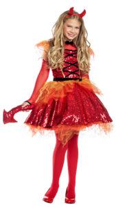 Party King PK1960C Girls Fiery Little Devil Costume - A