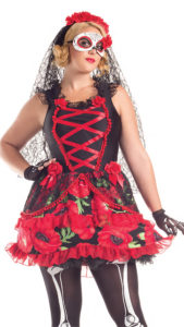 Party King PK297XL Plus Day of the Dead Señorita Costume - A